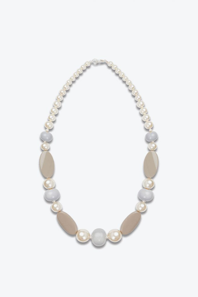 OL50000121 Elegant Pearl Beige Statement Necklace1B