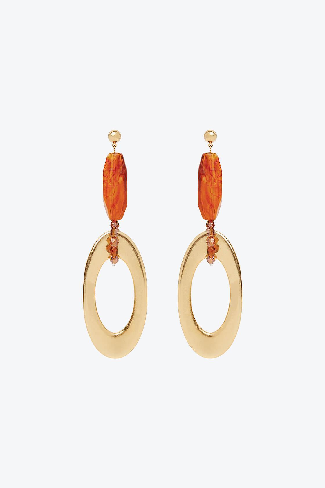 OL50000129 Gold Amber Drop Earrings1