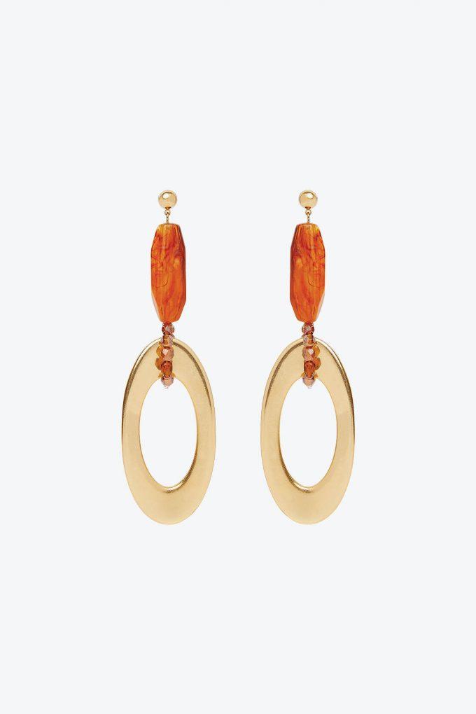 OL50000129 Gold Amber Drop Earrings1B
