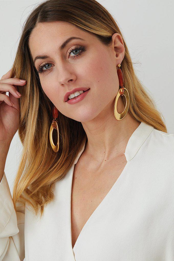OL50000129 Gold Amber Drop Earrings2