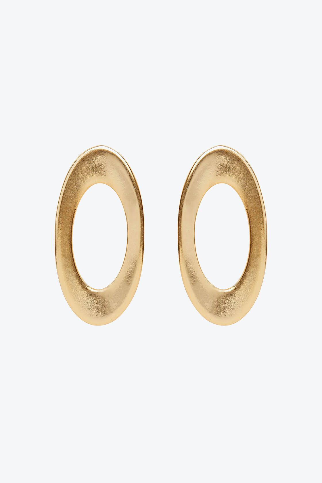 OL50000132 Gold Oval Statement Earrings Clip Ons1
