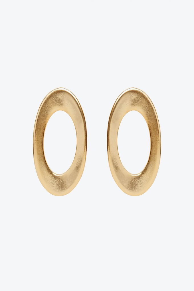 OL50000132 Gold Oval Statement Earrings Clip Ons1B