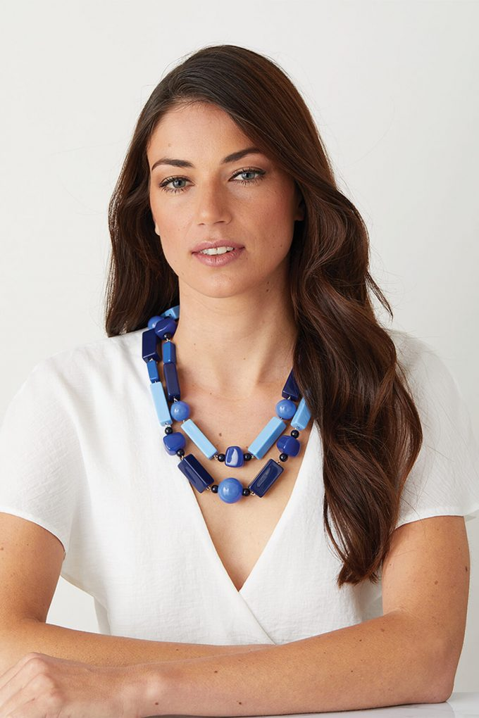 OL50000133 Blue Necklace Classic Italian Statement Jewellery2