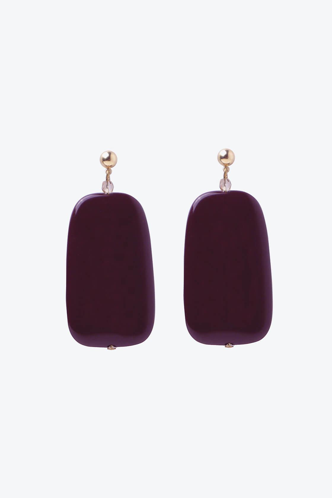 OL50000137 Sleek Maroon Earrings1
