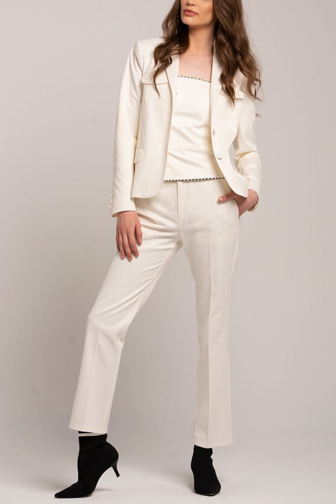 OL100002640 Dana Slim Fit Pleated Pants White2