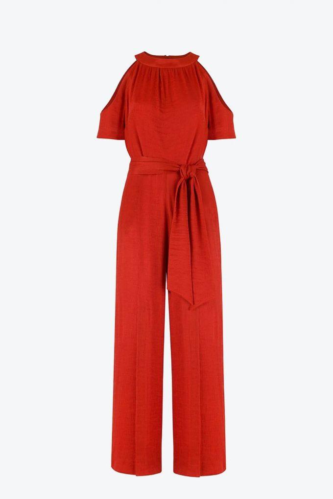 OL100002644 Elena Short Sleeve Plissee Jumpsuit Red1B