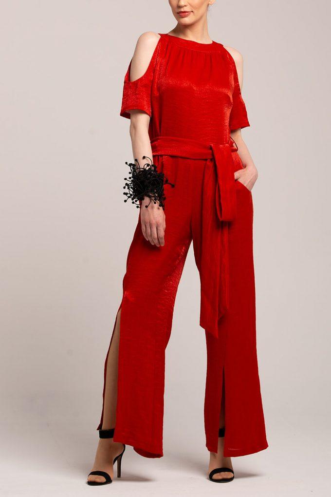 OL100002644 Elena Short Sleeve Plissee Jumpsuit Red2