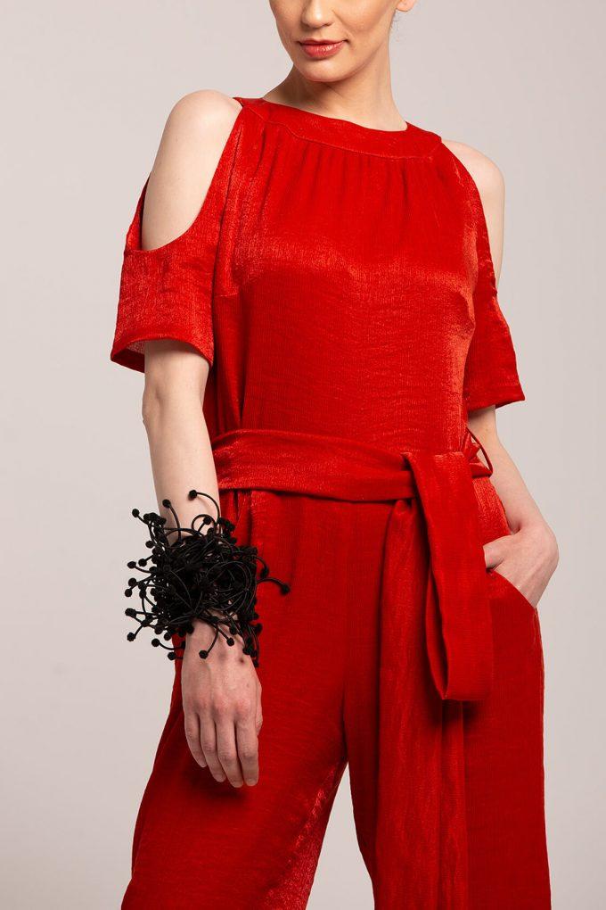 OL100002644 Elena Short Sleeve Plissee Jumpsuit Red3