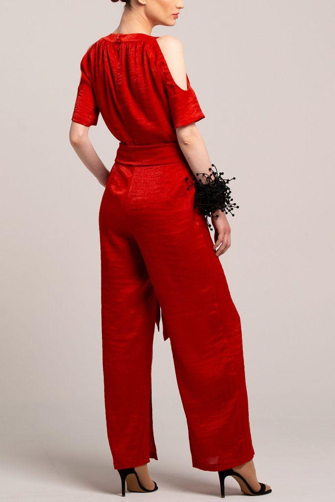 OL100002644 Elena Short Sleeve Plissee Jumpsuit Red4