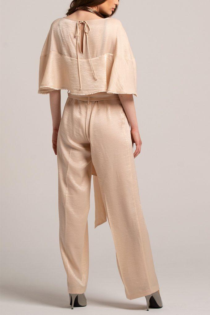 OL100002647 Marta Volant Sleeve Plissee Jumpsuit Gold2