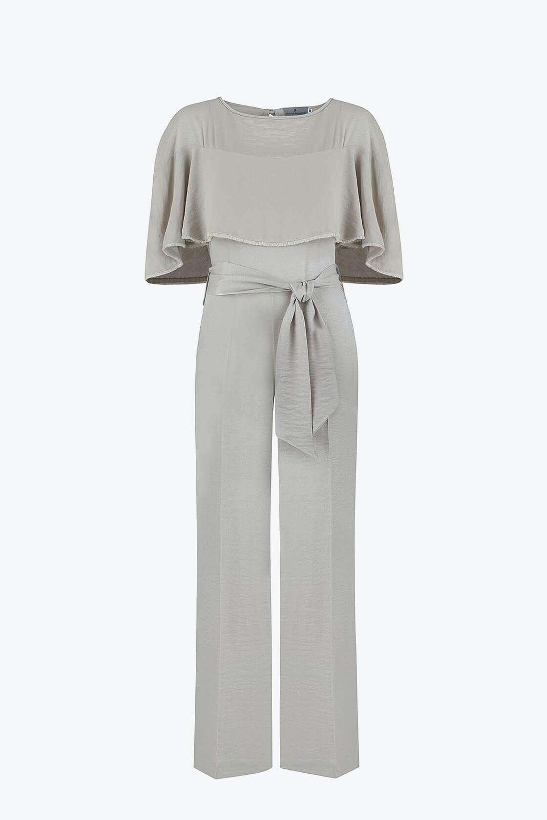 OL100002649 Marta Volant Sleeve Plissee Jumpsuit Silver1