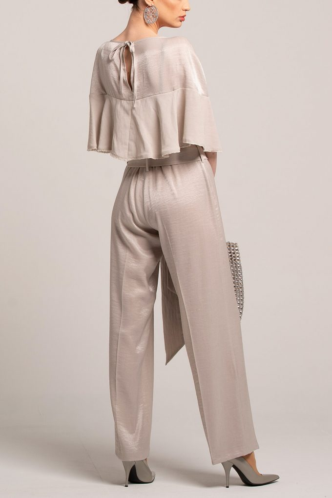 OL100002649 Marta Volant Sleeve Plissee Jumpsuit Silver2