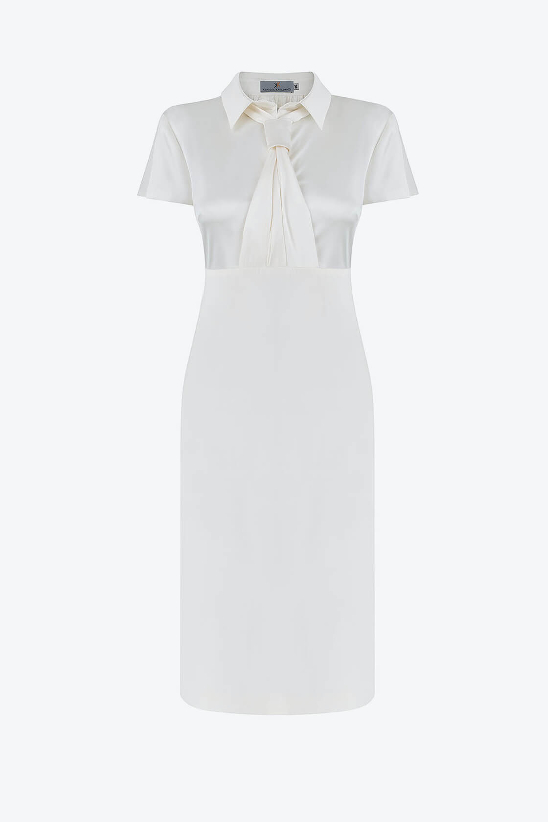 OL100002658 Zoja Fitted Dress With Collar And Tie White1