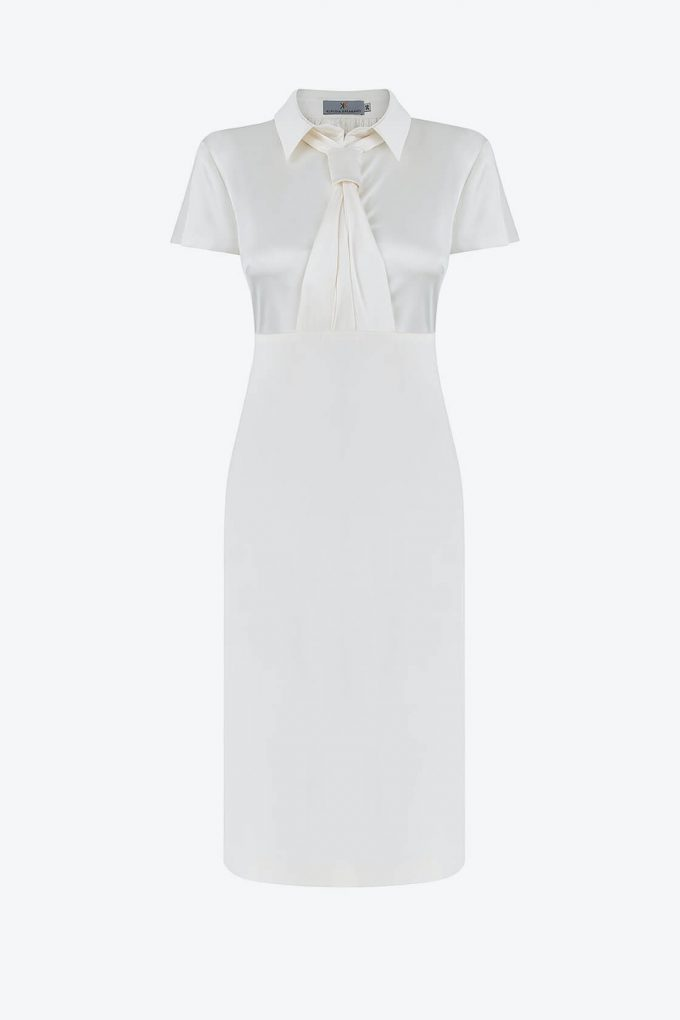 OL100002658 Zoja Fitted Dress With Collar And Tie White1B
