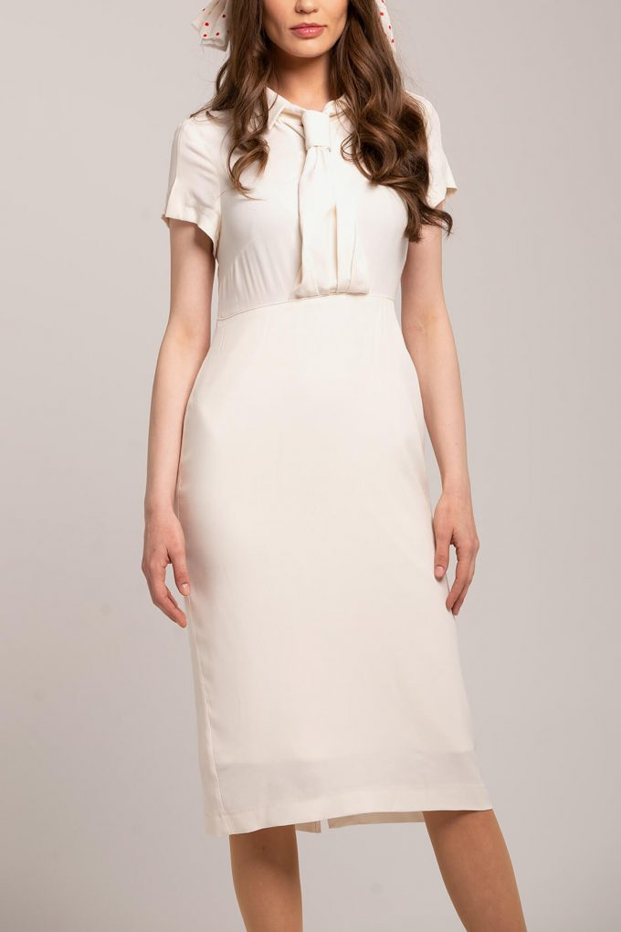 OL100002658 Zoja Fitted Dress With Collar And Tie White2