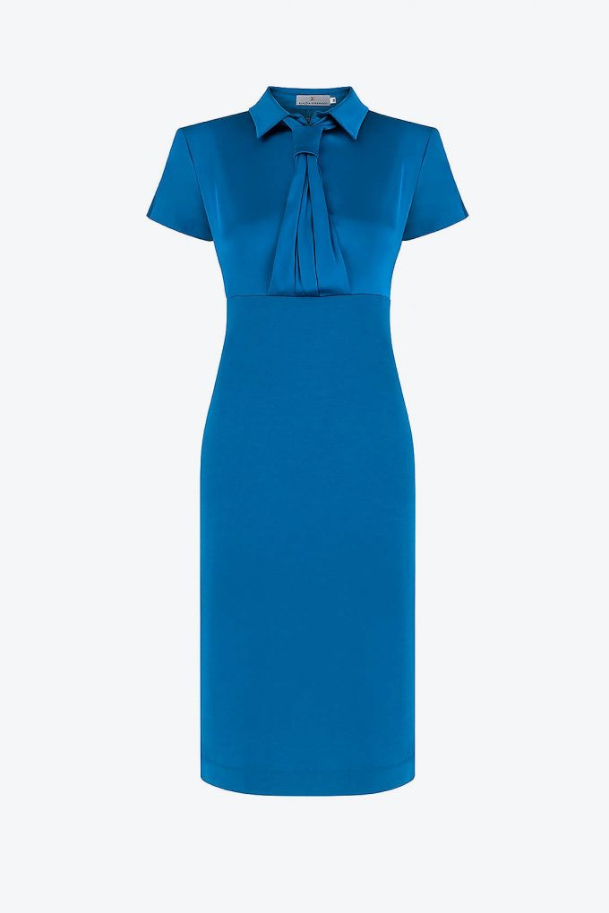 OL100002659 Zoja Fitted Dress With Collar And Tie 1B