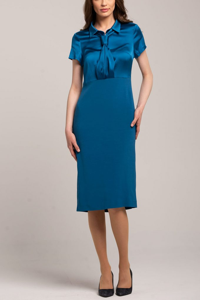 OL100002659 Zoja Fitted Dress With Collar And Tie 2