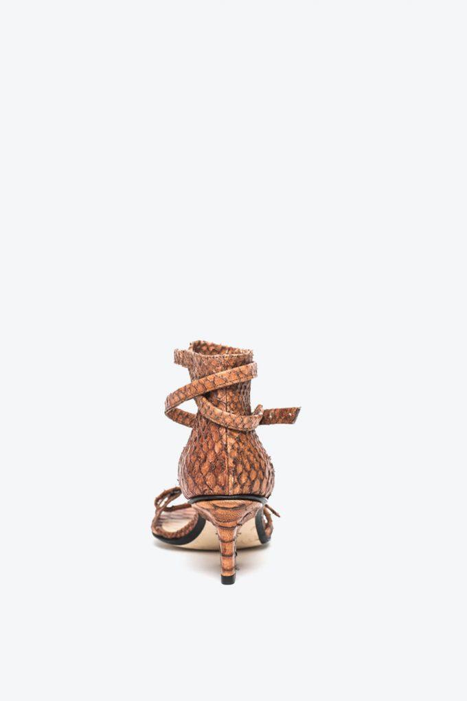 EJK0000011 Sid strappy sandals cognac python 2