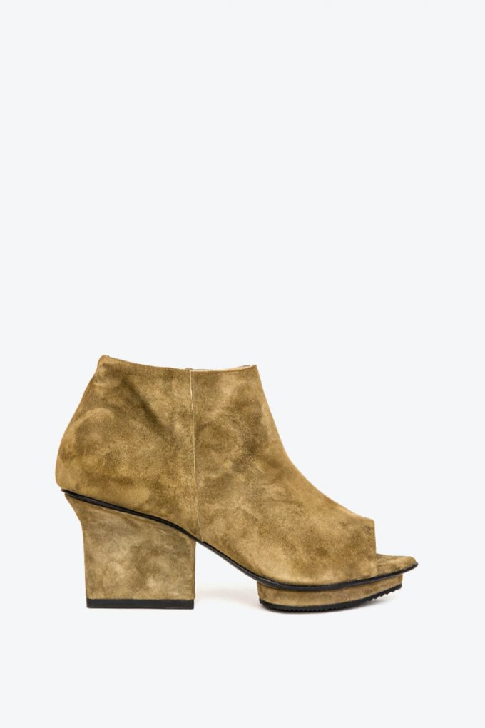 EJK0000036 Christal ankle boots open toe olive 1B
