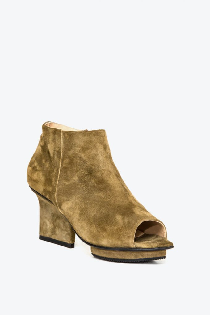 EJK0000036 Christal ankle boots open toe olive 3
